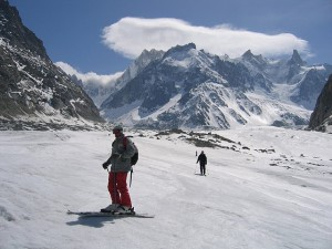 The descent of the Vallee Blanche